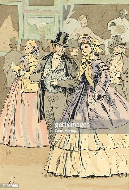 Fashion plate by French artist Francois Courboin entitled 'Picture Exhibition at the Salon Looking at Manet's 'Olympia' depicts a fashionable couple...