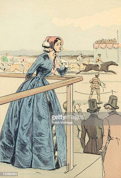 Fashion plate entitled 'A Stand at the Champ de Mars Races' depicts a young woman as she leans over a rail and watches a horse race Paris France 1848