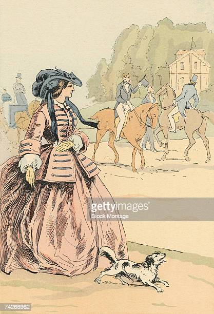 Fashion plate entitled 'The Avenue du Bois de Boulogne' depicts a woman as she walks witha small dog Paris France 1856