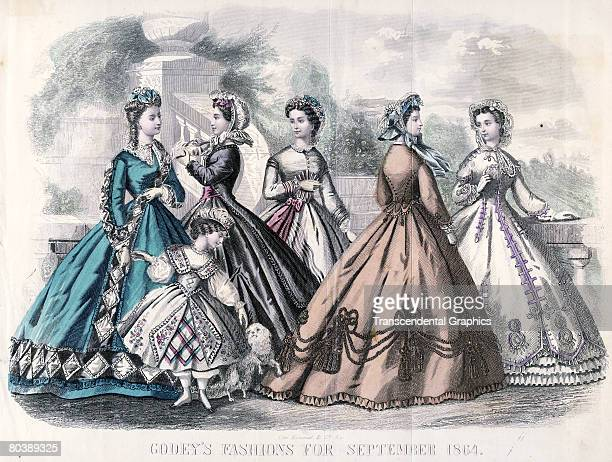 Fashion plate illustration from Godey's Lady's Book features a group of women dressed in fashions of the day September 1864