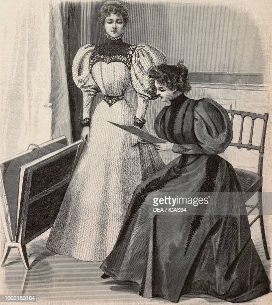Fashion plate with a dress with a yoke for teenage girls and an embroidered dress creations by PiretCoussinet engraving from La Mode Illustree n 3...