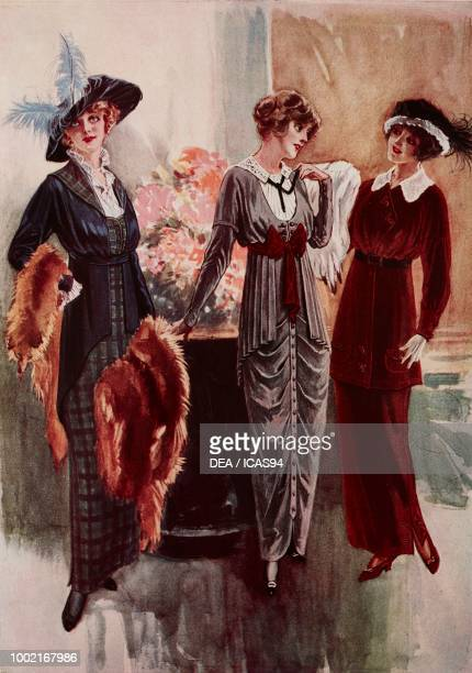 Fashion plates of a woman wearing a blue and green tartan gabardine day dress a blue bodice with pleated tulle cuffs and collar a fur stole and a...