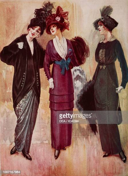 Fashion plates of a woman wearing a brown skirt a matching coat and a plumed hat and a purple crepe de Chine day dress with pink moire cuffs and...