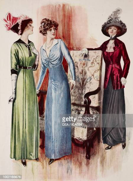 Fashion plates of a woman wearing a green and black poplin and satin day dress long white gloves and a pink hat and a blue crepe de Chine and satin...