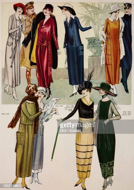 Fashion plates of women wearing different spring day dress models illustration from the magazine Le Miroir des Modes vol 78 no 4 April 1919