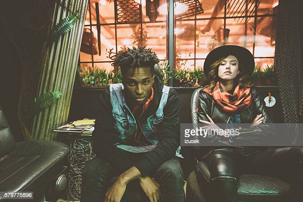 fashion portrait of afro american guy and beautiful woman - punk - fotografias e filmes do acervo