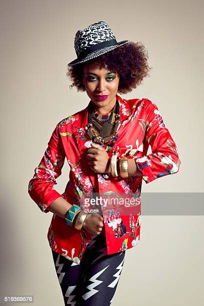 fashion portrait of beautiful afro american young woman - crazy holiday models stock photos and pictures