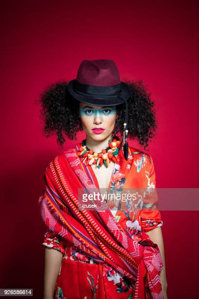 fashion portrait of beautiful young woman in peruvian style - crazy holiday models stock photos and pictures