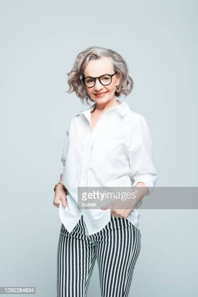 fashion portrait of happy elderly businesswoman - white shirt stock pictures, royalty-free photos & images