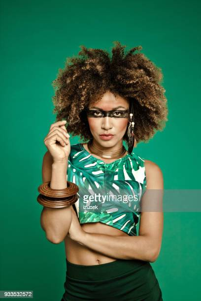 fashion portrait of sensual afro american young woman - crazy holiday models stock photos and pictures