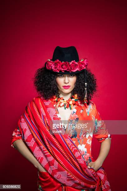 Fashion portrait of sensual young woman in peruvian style