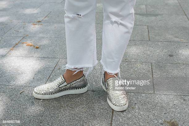 Fashion PR Mattia Paterlini wearing Levis jeans and Christian Louboutin shoes on day 4 of Paris Collections Men on June 25 2016 in Paris France...