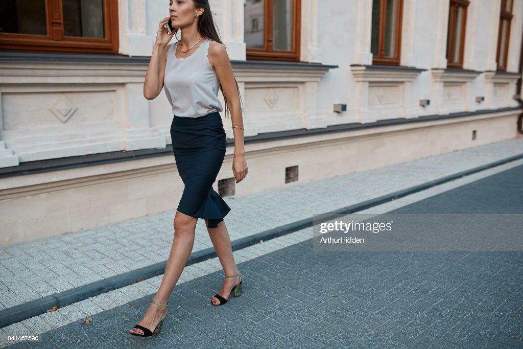 pretty woman walking