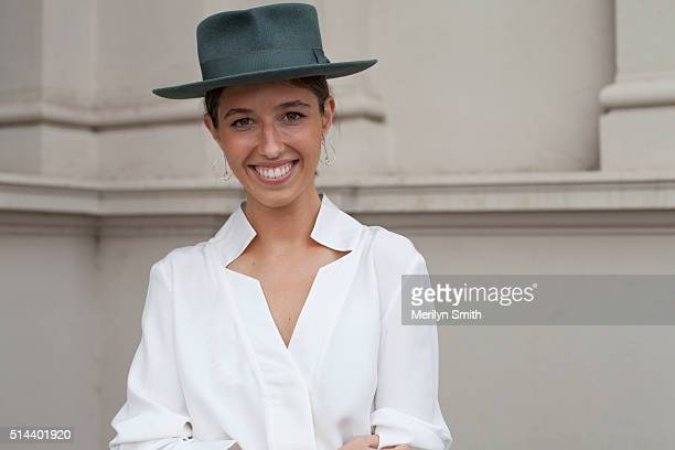 Fashion Publicist Georgia Zogopoulos wearing a Tyler blouse and Deer Ruby earrings during the 2016 Melbourne Fashion Festival on March 7 2016 in...