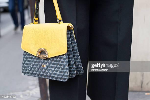 Fashion Publisher at Buro 247 Meruyert Ibragim wears Balenciaga trousers and a Fleur le Plage bag day 4 of Paris Haute Couture Fashion Week...
