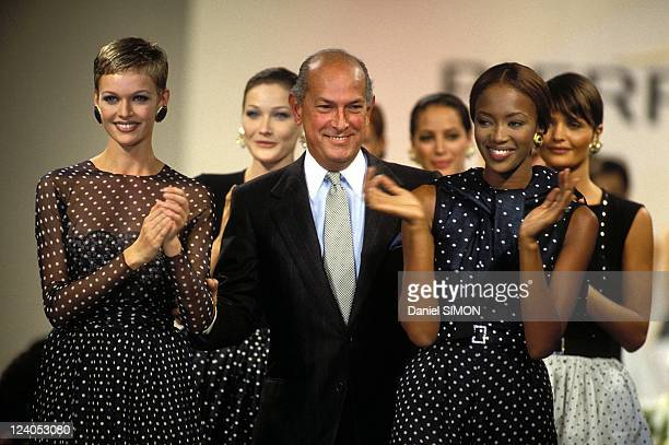 Fashion Ready to wear Spring/Summer 1994 in Paris France on October 09 1993 Balmain's show Oscar de la Renta Carla Bruni Naomi Campbell and Helena...