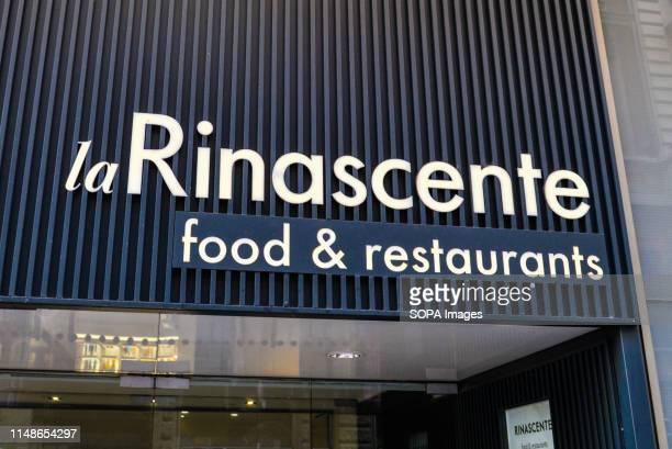 Fashion retailer Rinascente logo in Milan