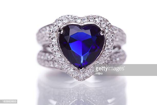 Fashion ring with blue heart shaped gem