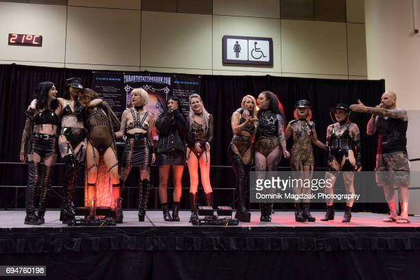 "Fashion runway during day two of the ""19th Annual Northern Ink Xposure Tattoo Convention"" at the Metro Toronto Convention Centre on June 10, 2017 in..."