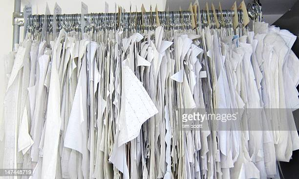 Fashion sample patterns hanging in row
