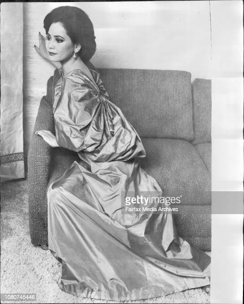 Fashion series with Madame Sukarno at Hilton HotelThis silk taffeta dress by Gres the French couture house renowned for spectacular evening clothes...