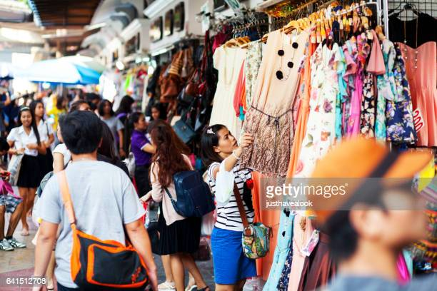fashion shopping thai women at victory monument - gehweg stock pictures, royalty-free photos & images