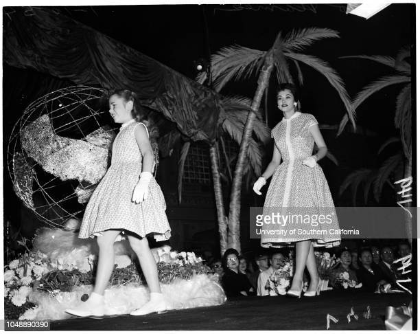 Fashion show at Ambassador January 10 1954 Marilyn Melton Jean Moorhead Jerry Sunders Linda Kneio Rosalie Calvert Misha Swanson Susan Young Gena...