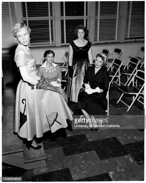 Fashion show at Corvallis High School August 28 1953 Barbara BreslowCamilla BurkeJane GoldieJoan Leslie Caption slip reads '11/13/14 Barbara...