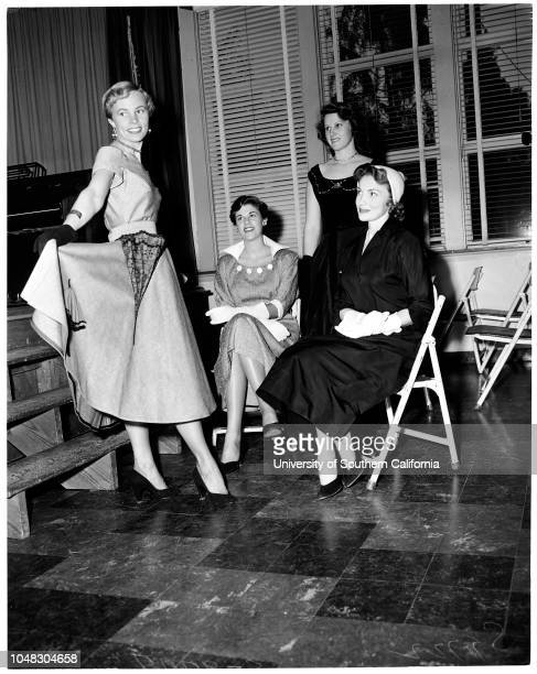 Fashion show at Corvallis High School, August 28 1953. Barbara Breslow;Camilla Burke;Jane Goldie;Joan Leslie. .;Caption slip reads: '11/13/14:...