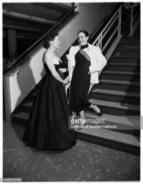 Fashion show at Ontario's Newcomers' Club San Gabriel Valley, 12 March 1952. Mrs Lewis P Williams;Mrs Elzabad E Gjerset;Mrs John Olson;Mrs Franklin...