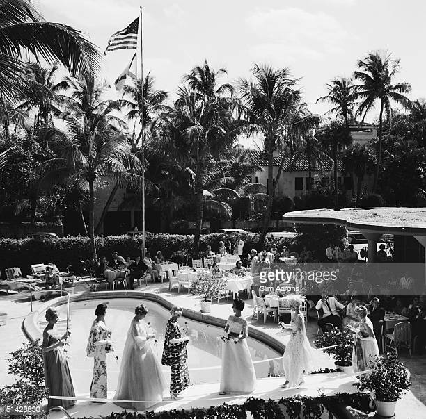 A fashion show by the pool at the New Colony Hotel Palm Beach Florida 1962