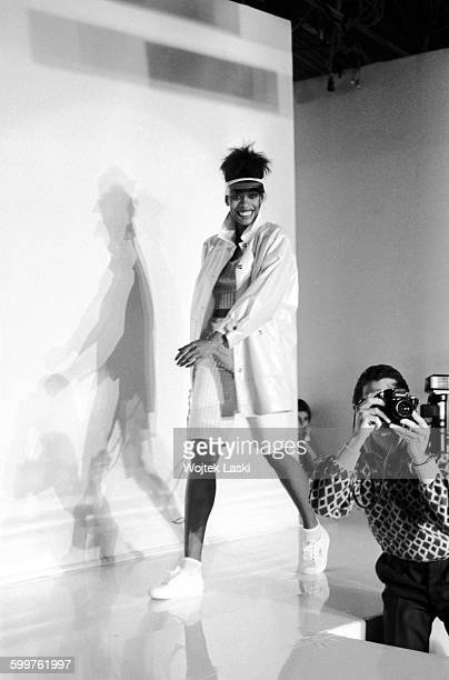 A fashion show of the '81 spring/summer collection by French fashion designer André Courrèges Paris France on October 10th 1980