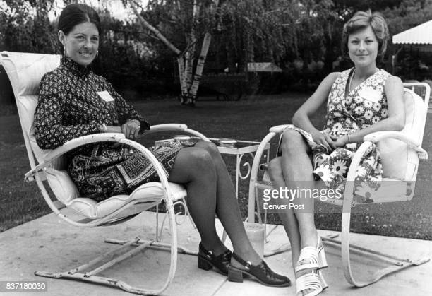 Fashion Shows To Highlight August Calendar Mrs Adolph Coors IV left and Mrs L Calvin Fulenwider III enjoy a break at a recent committee meeting for...