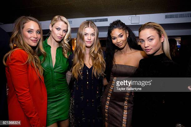 SI Fashionable 50 Party Portrait of SI Swimsuit models Hannah Davis Hailey Clauson Nina Agdal Chanel Iman and Rose Bertram posing during event at...