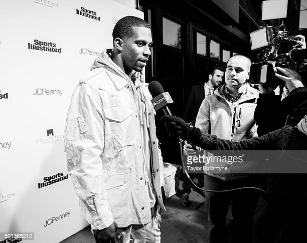Fashionable 50 Party: View of New York Giants wide receiver Victor Cruz during media interview on red carpet during event at Vandal. New York, NY...