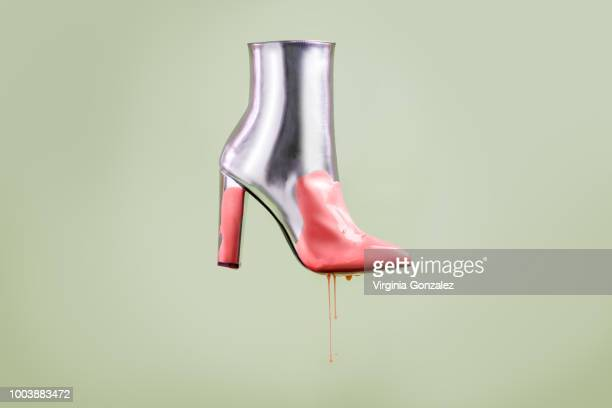 fashion silver boots - gray boot stock pictures, royalty-free photos & images
