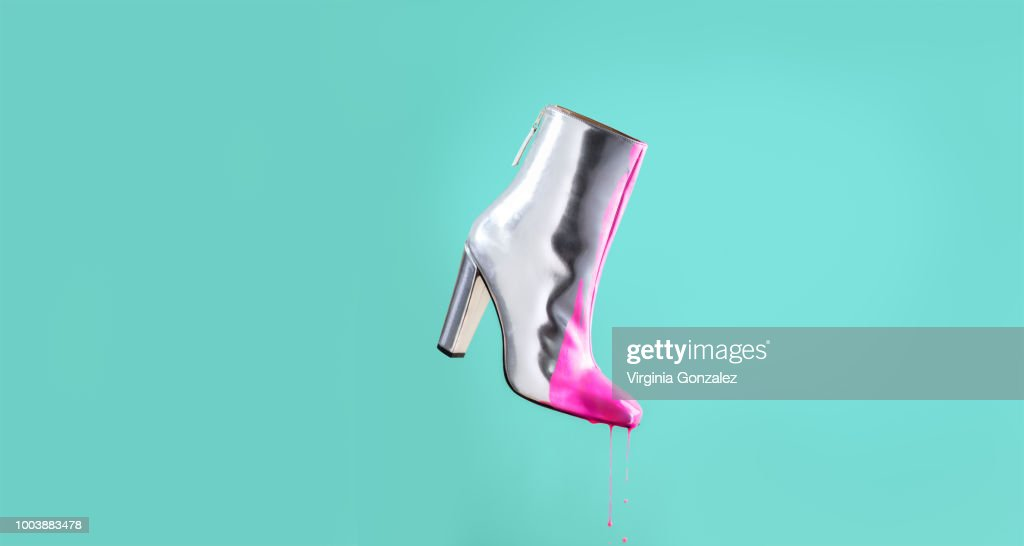 Fashion silver boots : Stock Photo