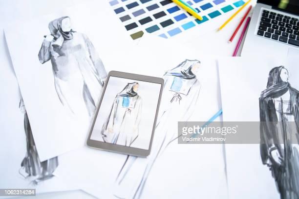 Fashion sketch on desk