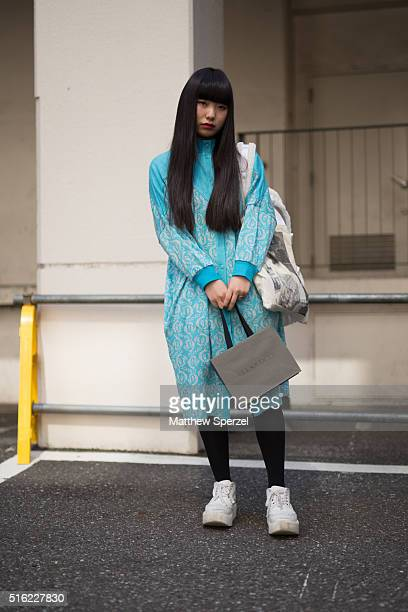 RUNA fashion student and model attends the Allsaints presentation during Tokyo Fashion Week on March 17 2016 in Tokyo Japan