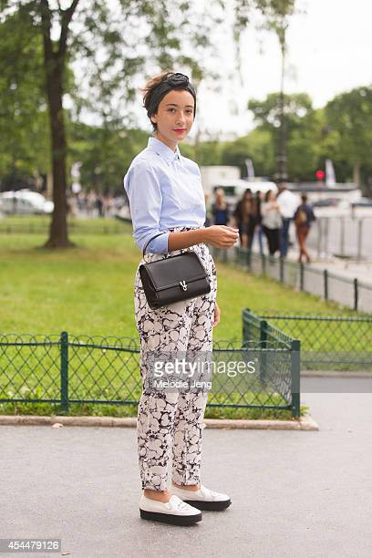 Fashion Student Elisa Carassai outside chanel on Day 3 of Paris Haute Couture Fashion Week Autumn/Winter 2014 on July 8 2014 in Paris France
