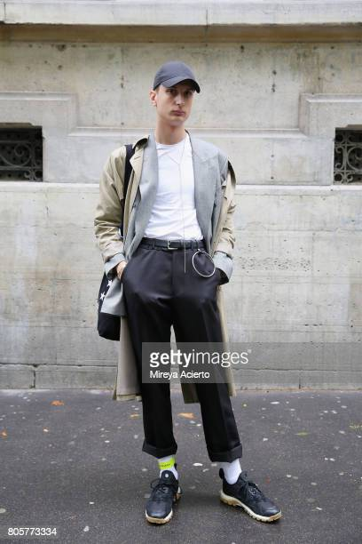 Fashion student Enzo dalMas seen wearing vintage jacketYSL blazer Zara shoes and Balenciaga ankle strap during Proenza Schouler Haute Couture fashion...