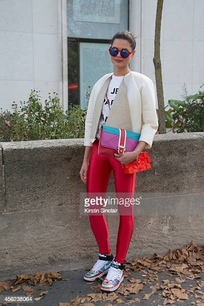 Fashion Student Nina Sieber is wearing a Maria Hoermanseder top Nike trainers American Apparel leggings Etre Cecile top Paula Cademartori bag Chanel...