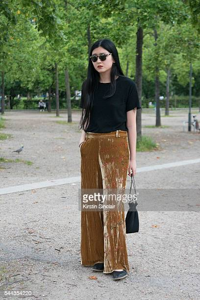 Fashion Student Xiao wears her own collection on day 2 of Paris Collections Men on June 23 2016 in Paris France Xiao