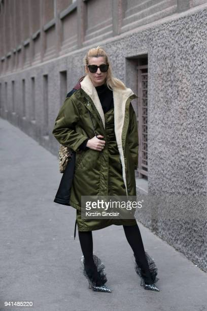 Fashion stylist Ada Kokosar wears MIDNIGHT oo shoes day 4 of Paris Womens Fashion Week Spring/Summer 2018 on March 1 2018 in London England