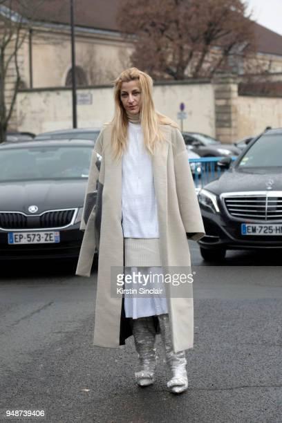 Fashion stylist Ada Kokosar wears Midnight Zero Zero boots Krizia jacket day 5 of Paris Womens Fashion Week Spring/Summer 2018 on March 2 2018 in...
