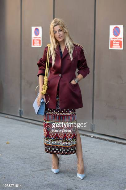 Fashion stylist Ada Kokosar wears Roksanda ilincic jacket and bag Midnight Zero Zero shoes Retromania skirt during London Fashion Week September 2018...