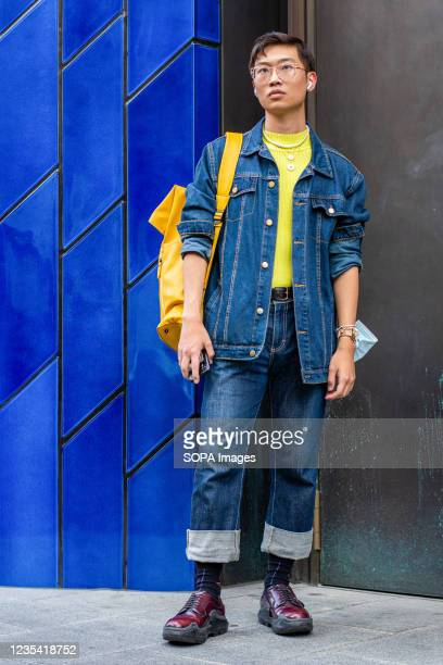 Fashion Stylist Adam Chi Lung Chan attends Richard Quinn Fashion Show at the Londoner Hotel during the London Fashion Week day 5.