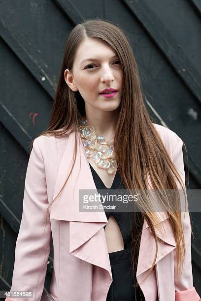 Fashion Stylist and blogger Magda Wieclaw wears a She Inside blazer Primark suit and necklace day 3 of London Mens Fashion Week Autumn/Winter 2014 on...