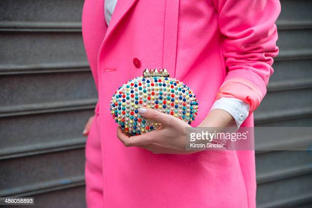 Fashion Stylist and Blogger Sofie Valkiers wears a Designer remix suit Christian Louboutin bag on day 5 of Paris Collections Women on March 01 2014...