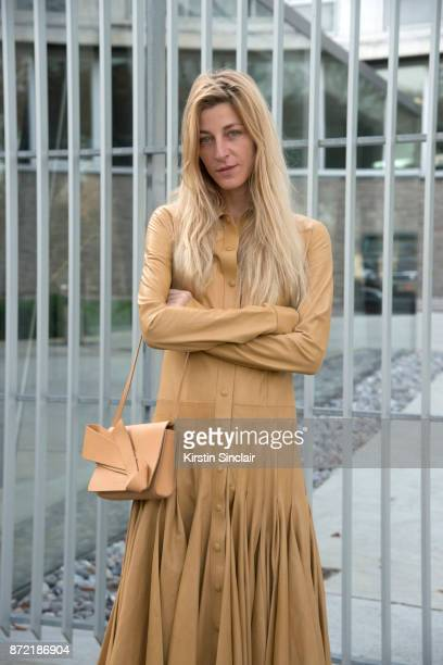 Fashion stylist and consultant Ada Kokosar wears a Loewe dress and a Delpozo bag day 4 of Paris Womens Fashion Week Spring/Summer 2018 on September...
